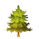 Vector illustration of green fir-tree