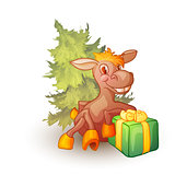 Vector illustration of horse with present