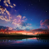 abstract night nature background with forest lake