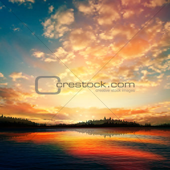 abstract sunset background with forest lake