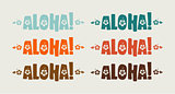 Vector set of aloha word in retro colors
