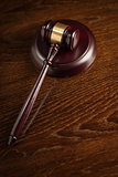 Wooden Gavel Abstract on Table