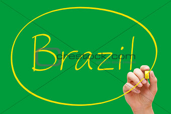 Brazil Handwriting Yellow Marker