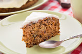 Carrot cake with nuts and cinnamon