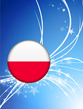 Poland Flag Button on Abstract Light Background