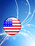 United States Flag Button on Abstract Light Background