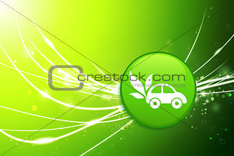 Car Button on Green Abstract Light Background