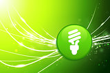 Light Bulb Button on Green Abstract Light Background