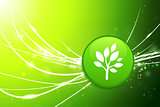 Tree Button on Green Abstract Light Background