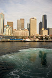 Seattle from Elliott Bay Ferry Leaving Terminal Puget Sound