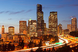 Interstate 5 & Seattle America Stock Photo