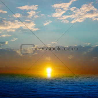 abstract nature background with sea sunset and clouds