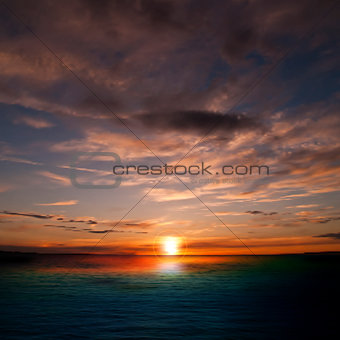 abstract nature background with sunset and clouds