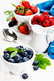 Berries in bowls  on Wooden Background.