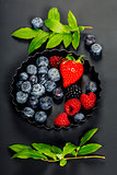 Fresh Berries on Dark  Background.