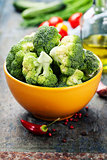 fresh green broccoli and organic vegetables