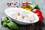 Mozzarella with tomatos and basil leaves