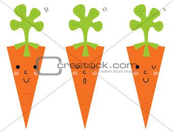 Beautiful cartoon Carrots set isolated on white