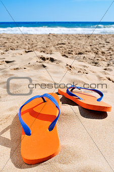 flip-flops on the sand of a beach