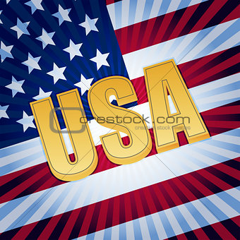 USA letters with shining american flag