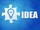 idea and puzzle piece with light bulb sign, flat design