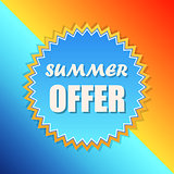 summer offer in sun sign, retro label, flat design