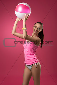 happy woman with beach ball