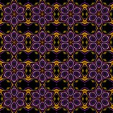 Seamless fractal pattern with decorative flowers