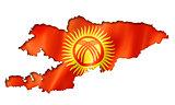 Kyrgyzstan flag map