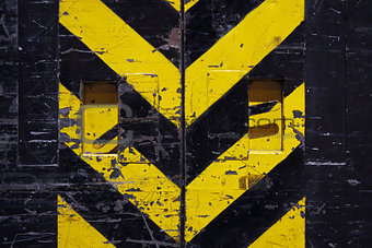 grunge door - yellow and black stripes