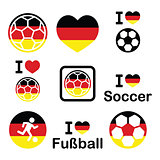 I love German football, soccer icons set
