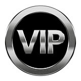 VIP icon silver, isolated on white background.