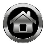 home icon silver, isolated on white background