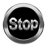 Stop icon silver, isolated on white background