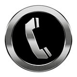 phone icon silver, isolated on white background.