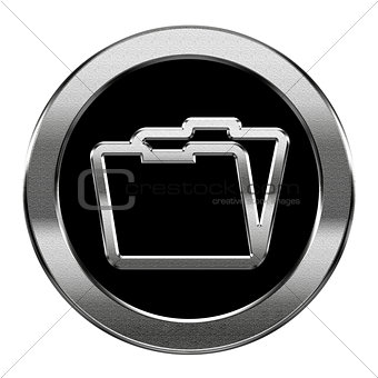 Folder icon silver, isolated on white background