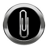 Paperclip icon silver, isolated on white background