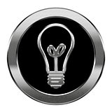 Light Bulb Icon silver, isolated on white background