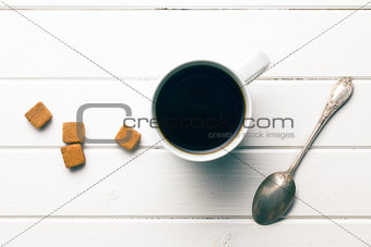 top view of coffee with brown sugar