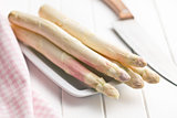 white asparagus on kitchen table