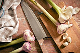 fresh garlic with knife