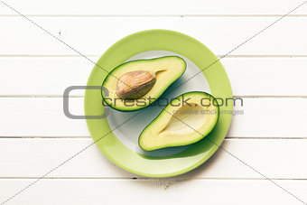 top view of halved avocados
