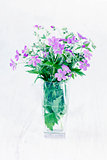 Violet wild flowers in a vase on wooden background