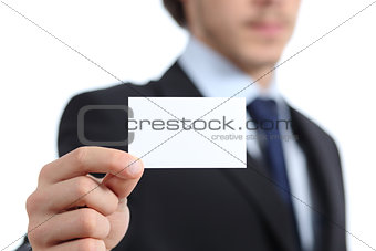 Close up of a businessman hand holding a business card