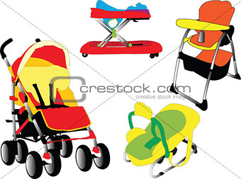 Baby equipment collection - vector