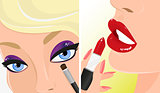 Vector illustration of red lipstick and violet eye shadow. Make-up twice illustration.