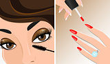 Vector illustration of mascara and nail polish. Make-up twice illustration.