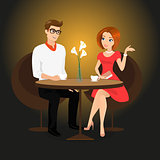 Young man and woman have a date in the restaurant.