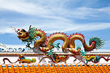 Colorful dragon statue on china temple roof.