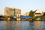 Thai houses along the khlong in Bangkok, Thailand.